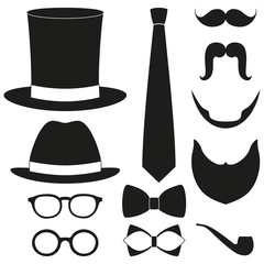 a9d48b11 Icon poster man father dad day avatar elements set hat mustache ...