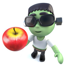 3d Funny cartoon Halloween frankenstein monster holding an apple