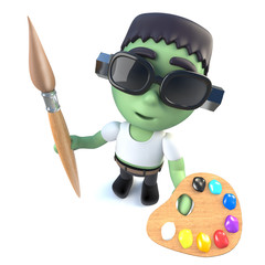 3d Funny cartoon Halloween frankenstein monster holding a paint brush and palette