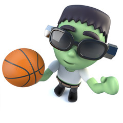 3d Funny cartoon Halloween frankenstein monster holding a basketball