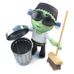 3d Funny cartoon Halloween frankenstein monster cleaning up with a broom