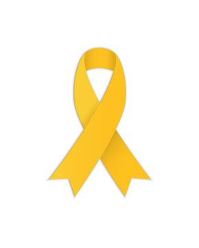 Yellow ribbon. Vector Symbolic object. Awareness ribbon