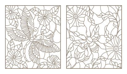 Set contour illustrations of stained glass bee and dragonfly on the background color, dark outline on a white background