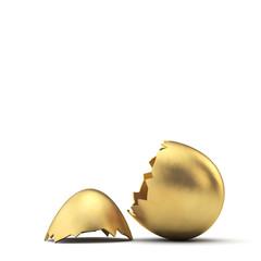 Gold luxury easter egg cracked open. 3D Rendering