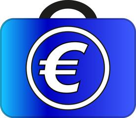 Euro suitcase - vector