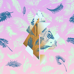 Tropical pink illustrations with geometric gold elements, watercolor palms, grey marble texture and collage effects for music cover, glamour banner, print clothes or bright design works!