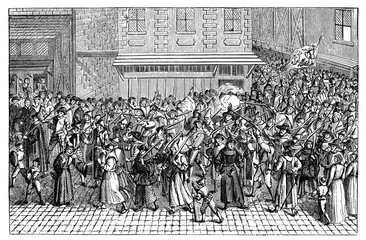 Procession of the Catholic League in the Ile de la Cite, Paris, 4 February 1593, in demonstration against the coronation of Henry IV (from Spamers Illustrierte Weltgeschichte, 1894, 5[1], 668)