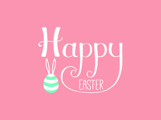 Hand written Happy Easter lettering with cute cartoon egg with rabbit ears. Isolated objects on pink. Vector illustration. Festive design elements. Concept for greeting card, invitation.