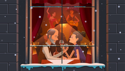 Mature couple enjoying evening in restaurant. Vector illustration of aged content people drinking wine in ethnic restaurant behind window.