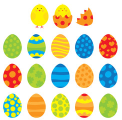 Easter eggs collection/ vectors colorful easter eggs set for children/ on white background