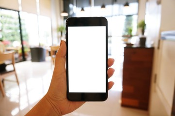 Close up of women's hands holding cell telephone blank copy space screen. smart phone with technology concept