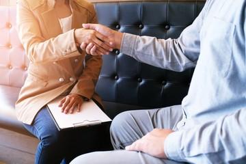 Image business mans handshake. Business partnership meeting successful concept.