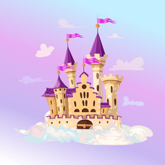 FairyTale cartoon castle. Cute cartoon castle. Fantasy flying island with fairy tale palace in clouds. Vector illustration