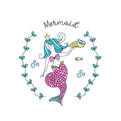 Mermaid, mythological creature. Mermaid holding a sea shell. Vector illustration. Isolated on a white background.