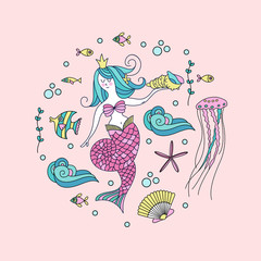 Mermaid, mythological creature.  Surrounded by sea fish, shells, jellyfish. Vector illustration. Isolated on a white background.