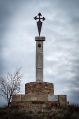 Monumento La Cruz del Peregrino, Alija del Infantado, León, España.