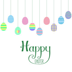 Seamless horizontal border with flat style hanging cartoon eggs, Happy Easter lettering. Isolated objects on white. Vector illustration. Festive design elements. Concept for greeting card, invitation.