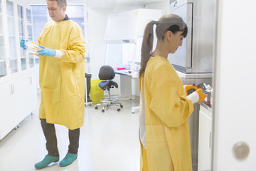 Lab workers in Sweden