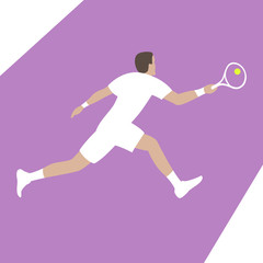 tennis player vector illustration flat style profile