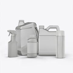 3D render cans of motor oil on a white background