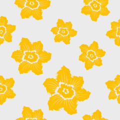 Narcissus daffodils seamless spring floral pattern.