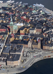 Aerial view of Gamla Stan in Stockholm, Sweden