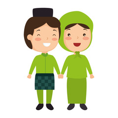 Muslim couple avatars characters vector illustration design
