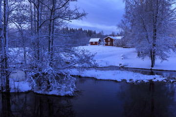 Bare trees by river during winter in Sweden
