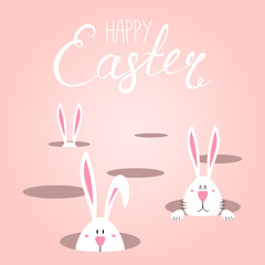 Hand drawn vector illustration with cute cartoon bunnies looking from holes, Happy Easter text. Isolated objects. Vector illustration. Festive design elements. Concept for greeting card, invitation.
