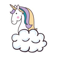 cute unicorn over cloud fantasy sticker vector illustration design