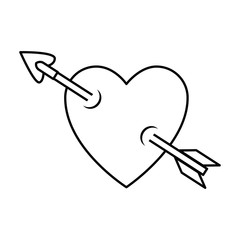 heart love sticker art with arrow vector illustration design