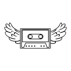 retro cassette with wings sticker icon vector illustration design