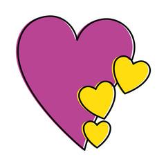 hearts love sticker art vector illustration design