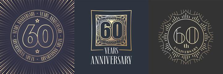 60 years anniversary vector icon, logo set