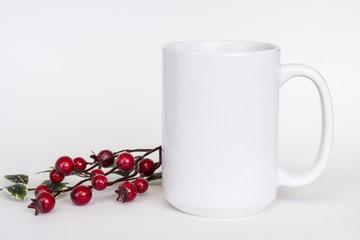 15 oz white ceramic mug mockup, white photo with minimalistic decor