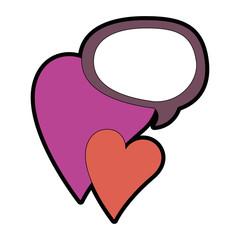 hearts love sticker art with speech bubble vector illustration design
