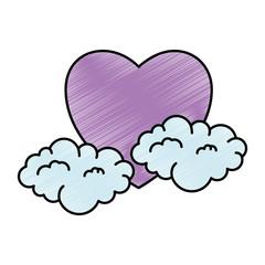 heart love sticker art with clouds vector illustration design