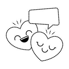 hearts love kawaii character with speech bubble vector illustration design