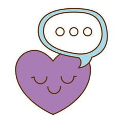 heart love with speech bubble kawaii character vector illustration design