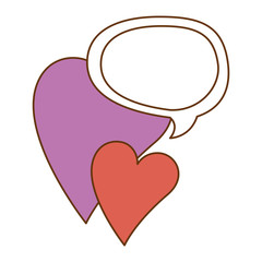 hearts love sticker art with speech bubble vector illustration design