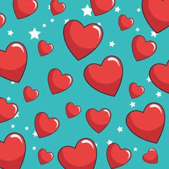 hearts love sticker pattern background vector illustration design
