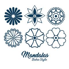 boho style mandala set icons vector illustration design
