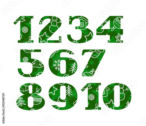 numbers christmas font winter green vector serif font new year