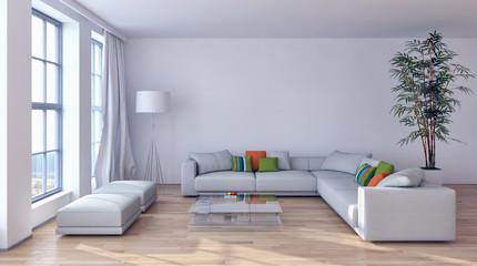 Obraz Modern bright interiors 3D rendering illustration - fototapety do salonu