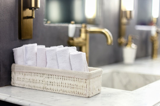 rolled towels in the bathroom