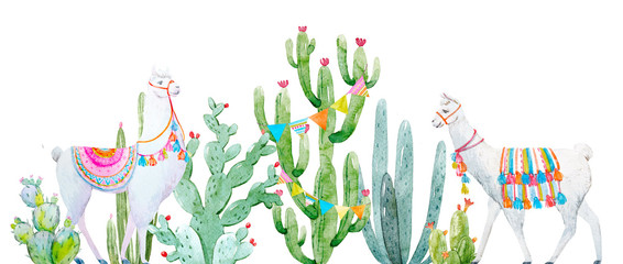 Watercolor cactus composition
