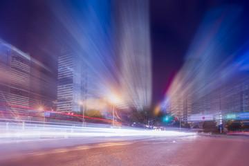 Night scene of urban road in Shanghai
