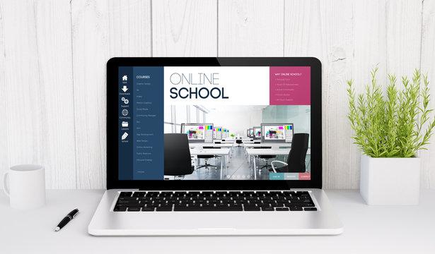 laptop on table online school
