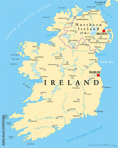 Map Of Ireland Major Cities.Ireland And Northern Ireland Political Map With Capitals Dublin And