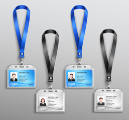 Id Cards Badges Realistic Set